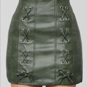 Fashion Nova Olive PU Leather Mini Skirt
